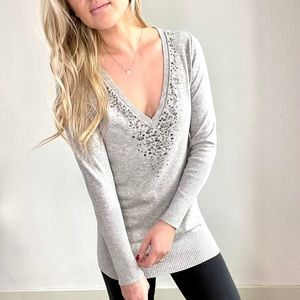 Eileen Fisher Grey Sequin Cashmere Sweater XS